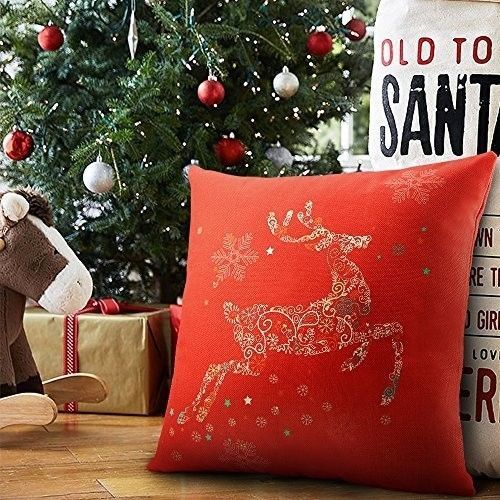 "Christmas Cushion Cover 18"" Lovely Cotton Linen Deer Art Design Xmas Case Red #easy_shopping08"
