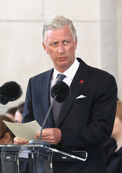 King Philippe of Belgium speaks during the Last Post ceremony, which has taken place every night since 1928, at the Commonwealth War Graves Commission Ypres (Menin Gate) Memorial on July 30, 2017 in Ypres, Belgium.