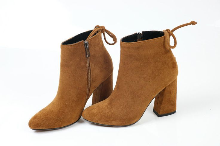 #brown  #winter  #women  Fabric #boots  Flock Ankle Round Toe Ladies #shoes  For #christmas  #ESVEVA #AnkleBoots #Casual#fashion