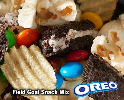 5 mins to make,serves 12 -- INGREDIENTS -- BAKING & SPICES • 1/4 cup Candy-coated chocolate pieces SNACKS • 8 Oreo cookies • 1 1/2 cups Popped popcorn • 1 cup Potato chips • 1/2 cup Pretzel sticks