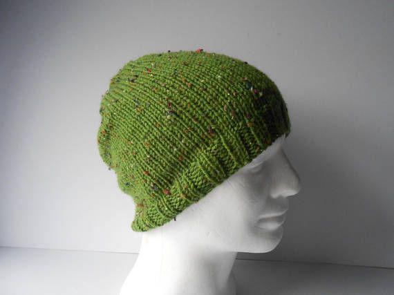 St Patrick's Day Green Hat Men's Slouch Hat Handknit