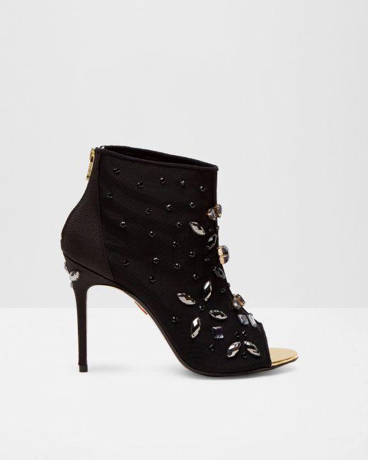Bottines à bout ouvert avec ornements - Noir | Chaussures | Ted Baker FR
