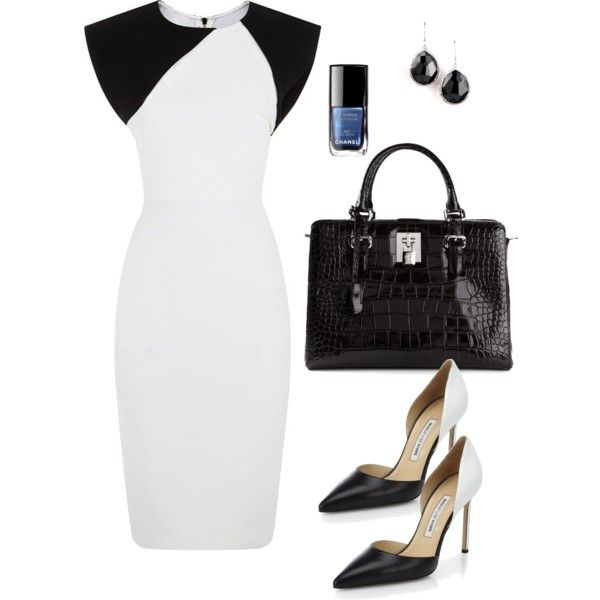"""""""Black and White color Blocked Dress with a Pop of Blue !!!"""" by stylesbypdc on Polyvore"""