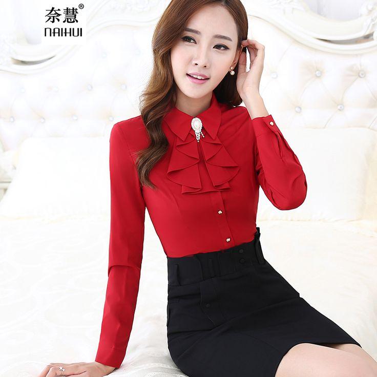 Women Ruffled Casual Chiffon Blouse Female Long Sleeve Elegant Red Slim Fit Shirt Ladies Tops Office Lady OL New Style Fashion