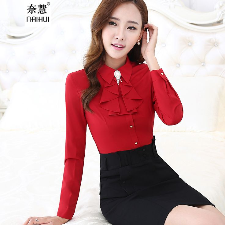 Women Ruffled Casual Chiffon Blouse Female Long Sleeve Elegant Red Slim Fit Shirt Ladies Tops Office Lady OL New Style Fashion