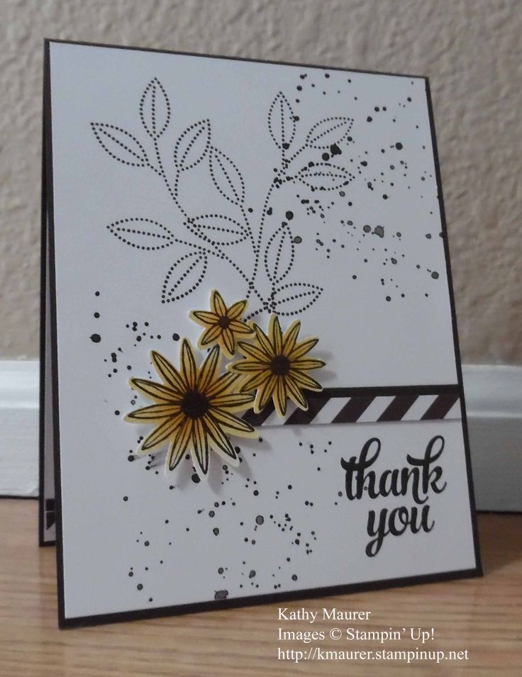 Thank you card made with Stampin' Up!'s Grateful Bunch, Gorgeous Grunge, and Tin of Cards Stamp Sets.  Also used the Blossom Bunch Punch.  For details, go to my Thursday, April 27, 2017 blog at http://www.stampinup.net/blog/2130686/entry/april_28
