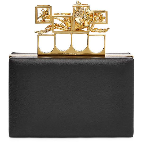 Alexander McQueen Leather Clutch (22,350 EGP) ❤ liked on Polyvore featuring bags, handbags, clutches, purses, black, hard clutch, black leather purse, black purse, leather clutches and black clutches
