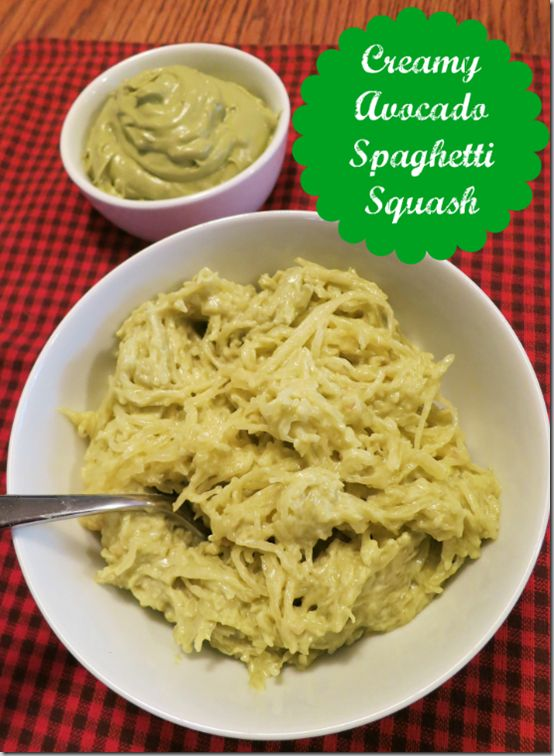 Creamy Avocado Spaghetti Squash ( | Better for you recipes | Pinterest
