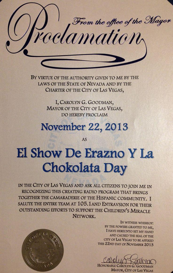 22 de Noviembre fue proclamado oficialmente el dia de Erazno y La Chokolata en Las Vegas Nevada por la Asociacion Internacional de Prensa, Radio y Television de Las Vegas.