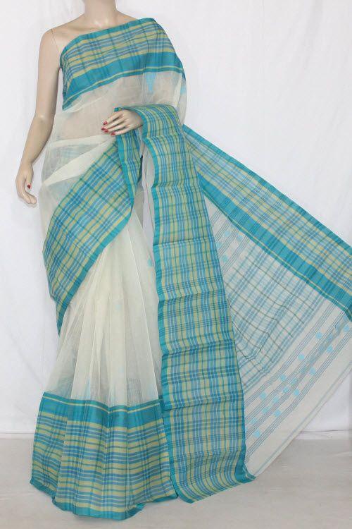 Off White Pherozi Handwoven Bengali Tant Cotton Saree (Without Blouse) Check Border 14203