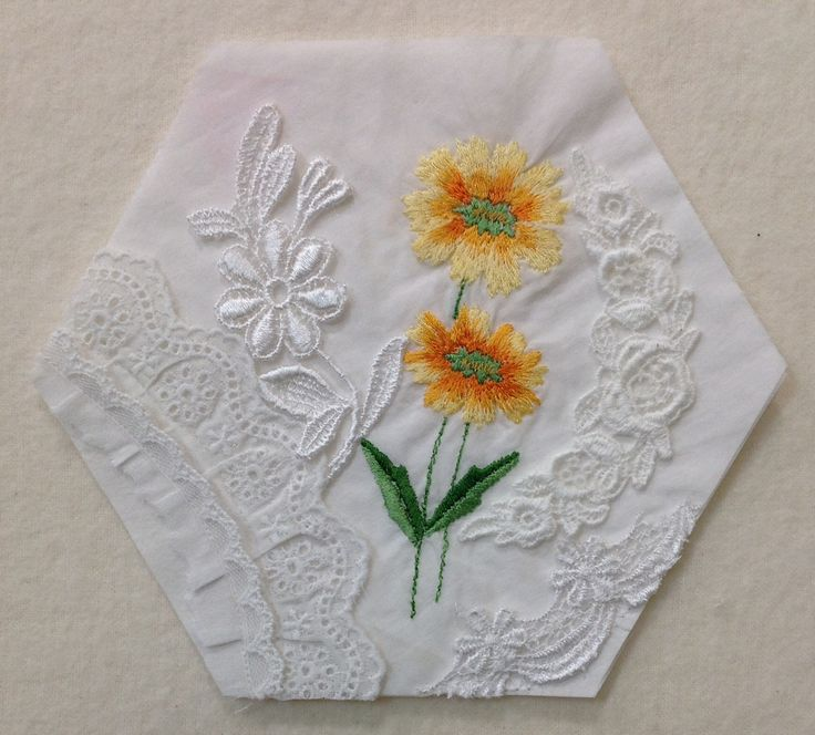 """I'm starting a new project, 3 1/2"""" Hexagons. Not sure what the finished Wall Hanging size will be. The embellishing will begin hopefully today. Block #1-Sunflowers"""