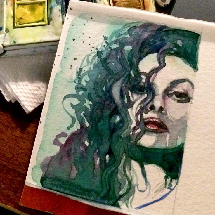 Bellatrix.  Tiny Harry Potter watercolour portrait 2.5 x 3.5 inches