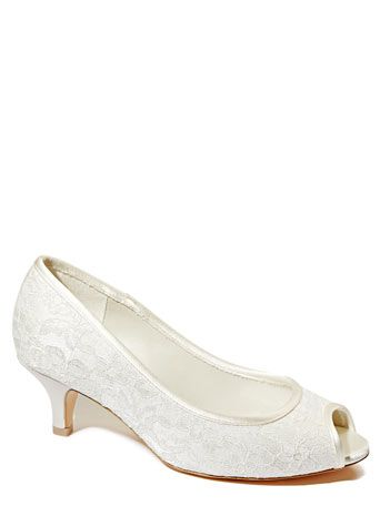 Ivory Wedding Collection Wide Fit Lace Peep Toe Court Shoes