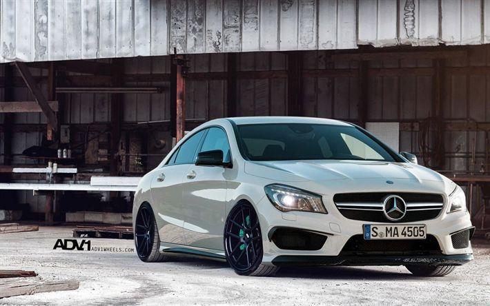 Lataa kuva Mercedes-Benz CLA, 2017 autot, ADV1, tuning, valkoinen CIA, saksan autoja, Mercedes