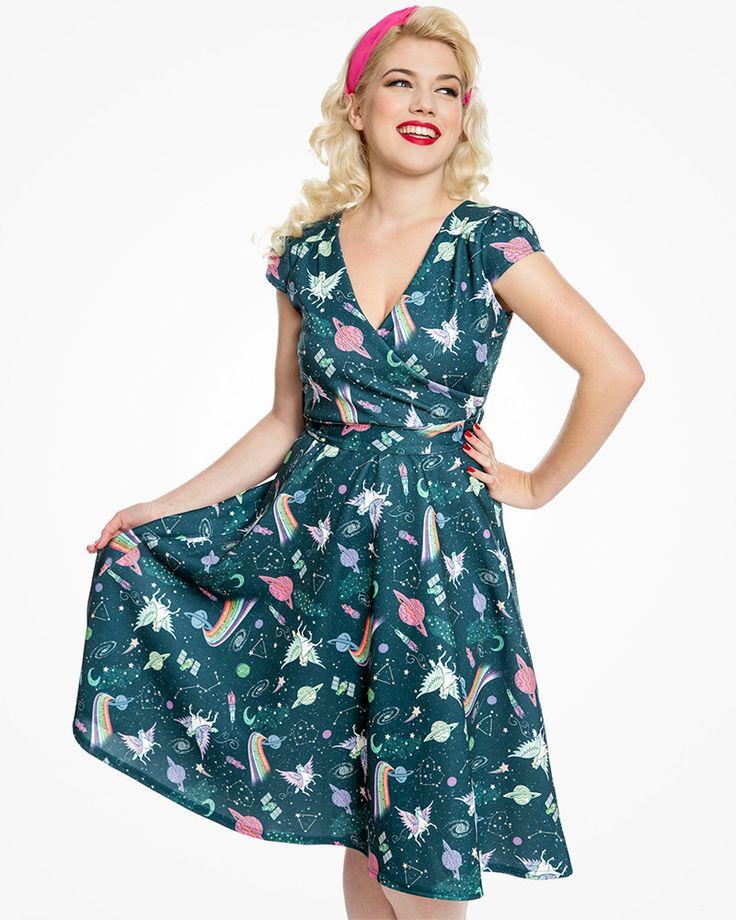 'Dawn' Teal Space Unicorn Swing Dress - Animal Prints - Shop by Print - Dresses