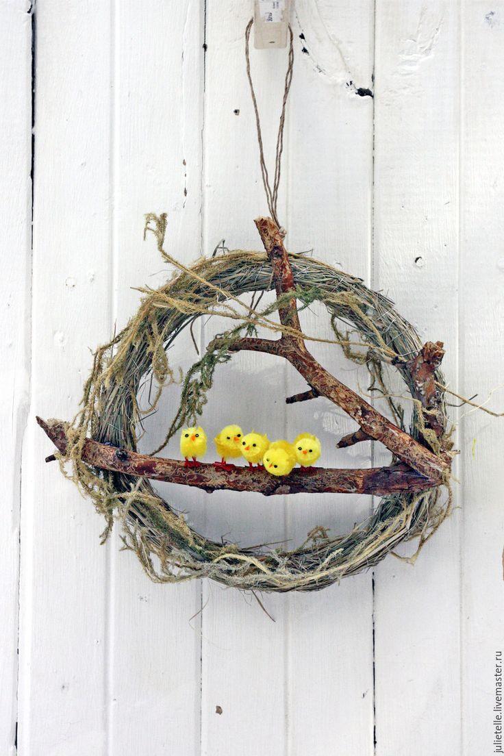 Купить Пасхальный веночек - лимонный, Пасха, пасхальный венок, пасхальный декор, декор дома