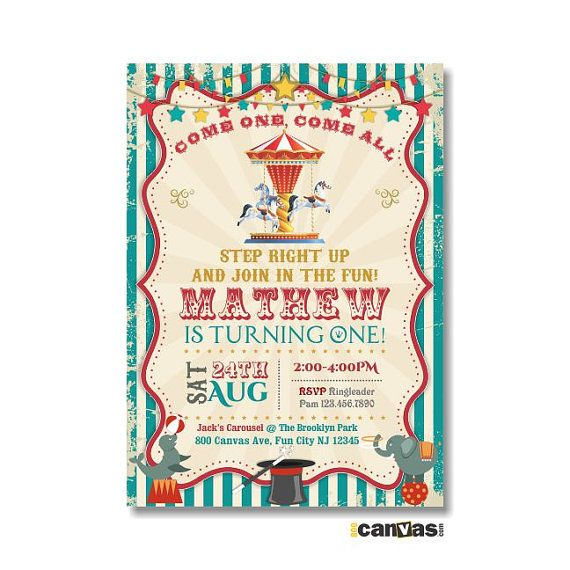 9-PIECE-SUITE - Carousel Birthday Invitation, Circus Invitations, First Birthday Party, Merry Go Round, Carnival Magic Elephant Teal Red, DiY Printable or Printed with FREE SHIPPING Hello, WELCOME to 800Canvas! All invitations in the shop are customizable to any events. All text can be