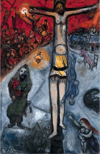 "#2- Painting by Marc Chagall, 1937/1948, Résurrection, Series of three monumental paintings call ""Révolution"", oil on canvas, Centre Pompidou, Paris."