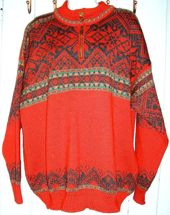Vintage Dale of Norway red wool pullover ski sweater XL MINT
