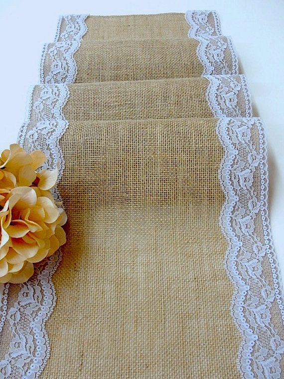 Burlap table runner with placid blue Italian lace, Wedding table runner, rustic tablecloth , handmade in the USA on Etsy, $23.00