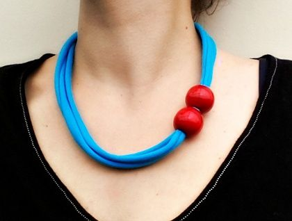 Textile Necklace Handmade with reclaimed t-shirting and wooden beads  https://cherryberry.felt.co.nz