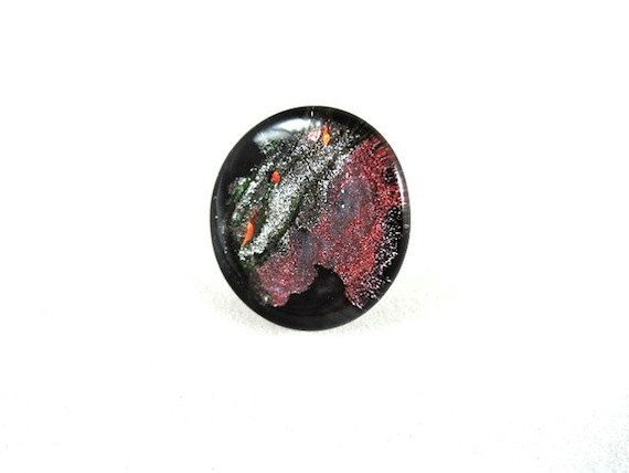 Ring Galaxy  Adjustable  Silver Plated  Glass  by PikalooShop