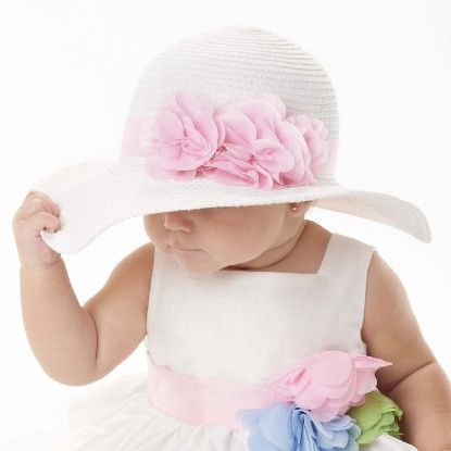 This is the Fancy Easter Baby Sun Hat for Baby Girls from www.Melondipity.com ... A new addition to our Easter collection. If you're looking for an adorable white baby sun hat for your little girl, this is the baby hat for you. Price: $23.99
