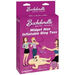 Bachelorette Party Midget Man Ring Toss Game - Make your next adult party a night filled with fun and games with the Bachelorette Party Midget Man Ring Toss Game! This blow up midget man doll is made fro