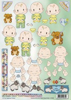 3D knipvel - Geboorte Tweeling Jongens - Carddeco - CD10036