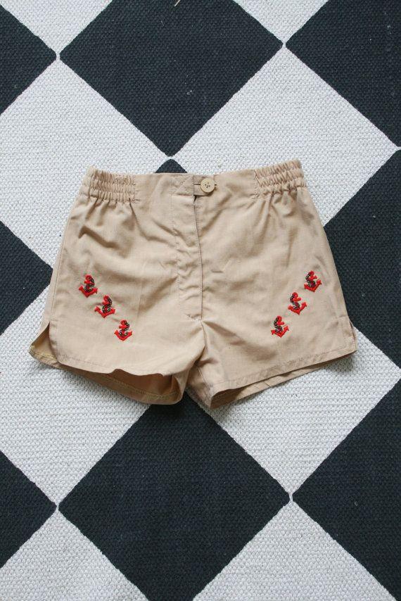 12-18 mes Vintage pantalones cortos de bebé / / de color caqui pantalones náuticos niños