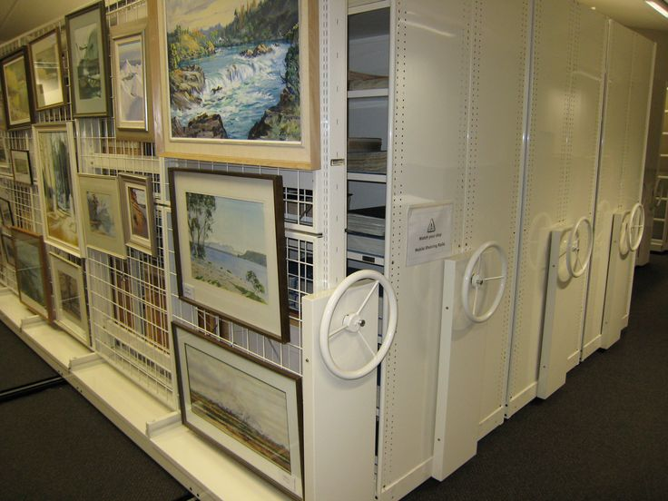 Hanging artwork for archival purposes can take up a lot of room. Hydestor compacting mobile system was redesigned to incorporate steel mesh which enabled hundreds of valuable artworks to be hung safely with plenty of air circulation.