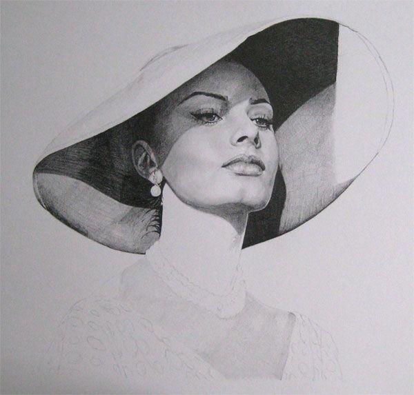 Work in progress. Sophia Loren, pencil on drawing paper.
