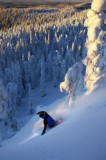 Snowboarding in Ruka, Lapland, Finland.