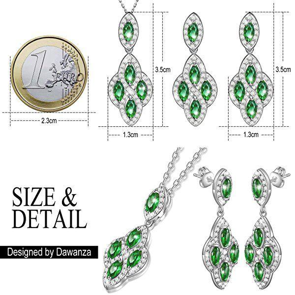 Dawanza-Cadeau Noël <b>Bijoux Parure Femme</b> Cristal Vert ...