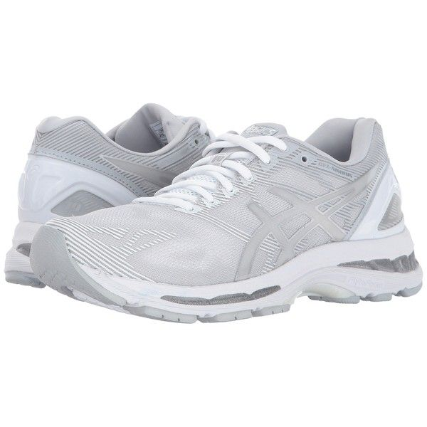 ASICS GEL-Nimbus 19 (Glacier Grey/Silver/White) Women's Running Shoes ($160) ❤ liked on Polyvore featuring shoes, athletic shoes, gray running shoes, white shoes, lace up shoes, light weight running shoes and asics athletic shoes