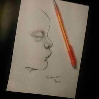 art scetch child made with pencil