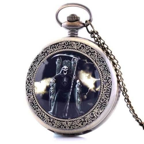 gothic Death with his sickle and chair quartz pocket watch and chain