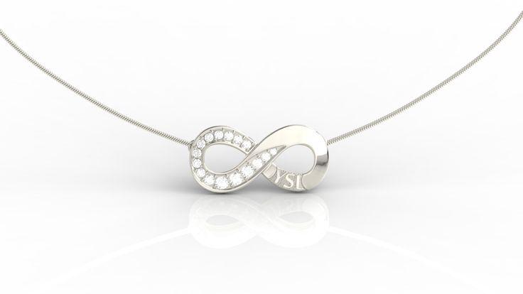 Naszyjnik nieskończoność z białego złota i diamentów / Infinity shaped pendant made from white gold with diamonds / #jewellery #pendant #design #whitegold #diamonds
