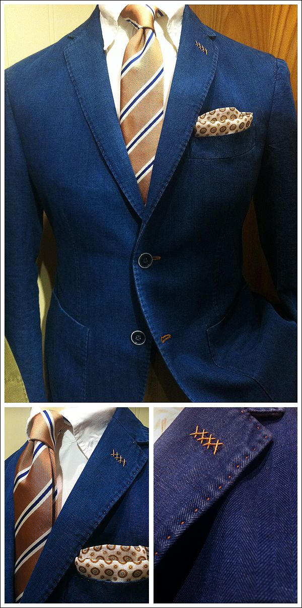 Beautiful colors. Perfect city ensemble but touches of country through stitching, pocket square and patch pockets
