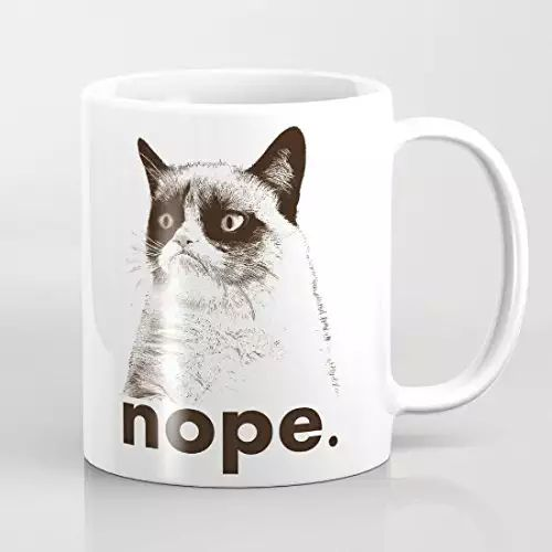 Grumpy Cat Nope Coffee Mugs Best Funny Gifts Sarcastic Mug Present 11oz Daughter Coffee Mug for Women Funny Coffee Mugs Ceramic Gift Coffee Tea Cocoa Coffee Cup 11 OZ
