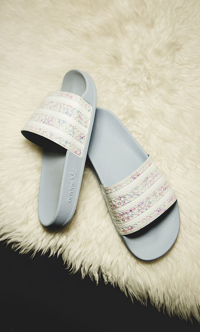 official site fashion styles detailing adidas Adilette W Holographic - light blue - G27229 in 2019 ...