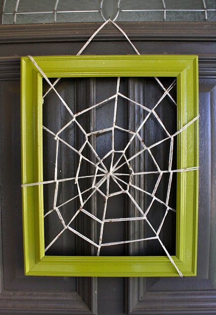 Instead of a wreath at Halloween. Cute, easy, and different. Add spider too.: Halloween Decor, Halloween Crafts, Web Frames, Front Doors, Halloween Wreaths, Pictures Frames, Halloween Doors, Halloween Ideas, Spiders Web