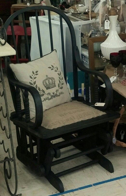 Glider chair makeover. Black and burlap.