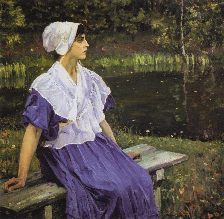 Девушка у пруда (Н.М.Нестерова). 1923
