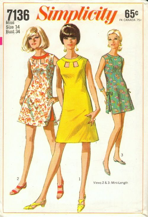 """Simplicity 7136; ©1967; Juniors' and Misses' Dress or Beach-Dress in Two Lengths and Shorts: The sleeveless and collarless dress has high round neckline with neck band and back zipper. V. 1 & 2 have """"peek-a-boo"""" openings at neck edge. V. 1 is regular length. Above knee-length V. 2 & 3 have slits at side seams and lined shorts with side zipper. V. 2 has contrasting neck band and shorts. V. 3 has matching shorts and self fabric bows. [insert your photos of this pattern made up]"""