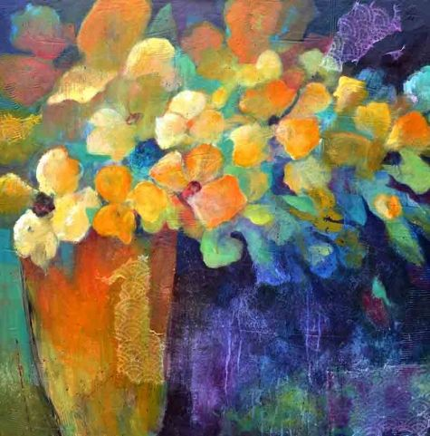 """abstract floral collage """"Orange Vase"""" by Filomena Booth"""