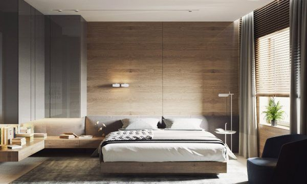 These wide panels have an even thinner border for an even more streamlined appeal. The wood bed platform and cantilever side tables pull the entire composition together.