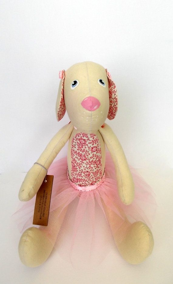 Puppy Ballerina is about 16 inches(40 cm) , is made from 100% cotton and filled with polyester antibacterial. The Puppy Ballerina body is
