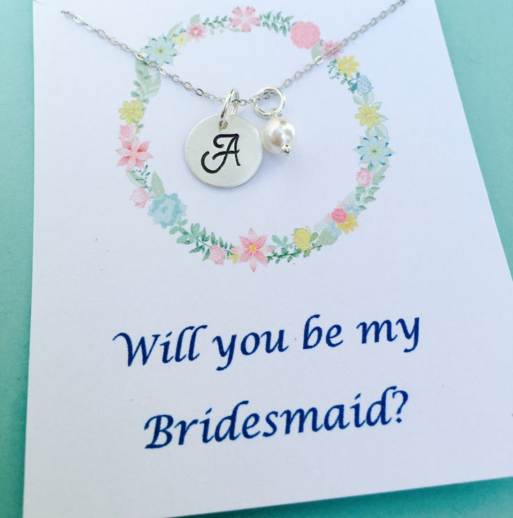 Will you be my Bridesmaid? Bridesmaid Necklace, Personalized Monogram Necklace, Wedding Jewelry, Sterling Silver