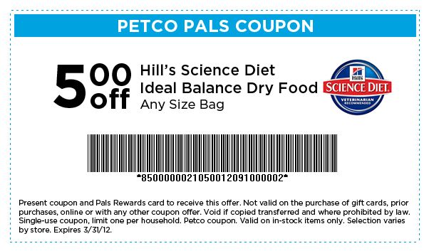PETCO Coupon for 5 off Hill's Science Diet Ideal